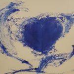 peinture coeur bleu